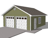 24x26 garage plans with two doors