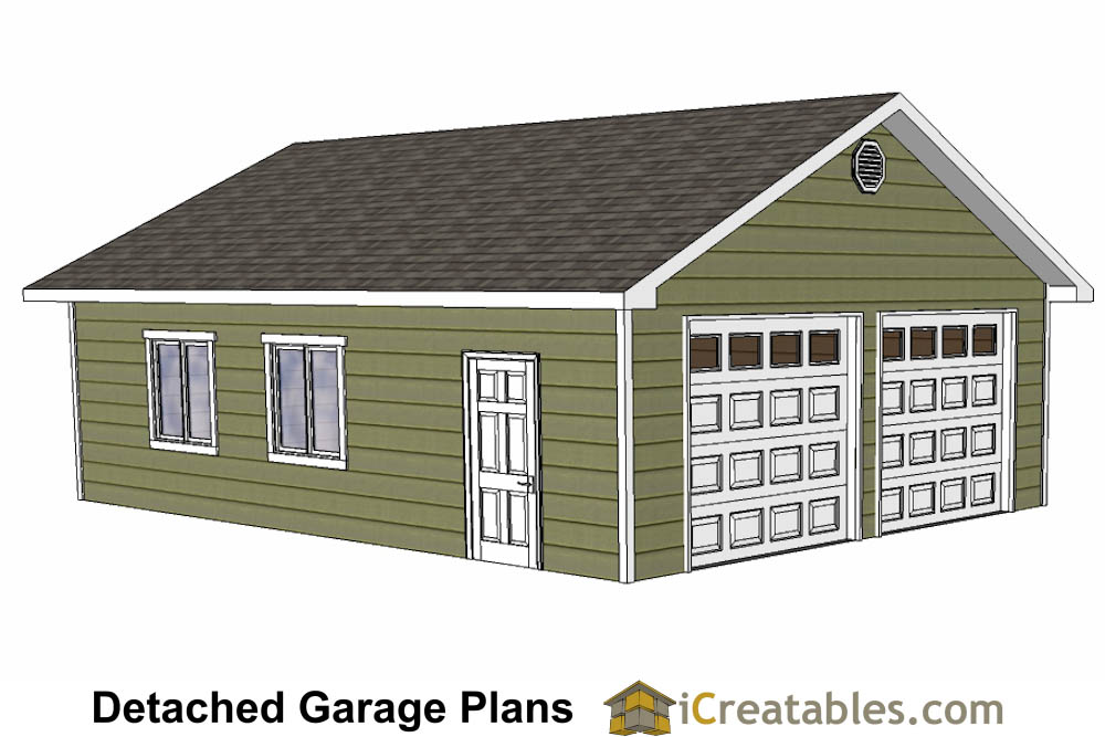 24x32 garage plans for 2 car garage with loft kit