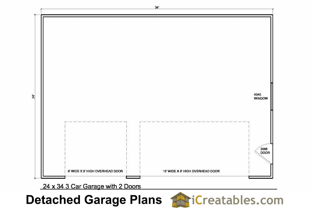 superior 3 car garage plan #3: 24x34 3 car garage plans with 2 doors