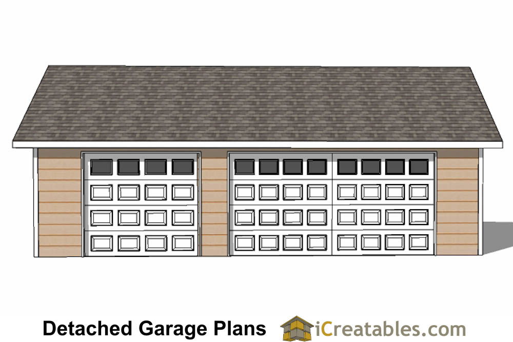 24x34 garage plans 3 car garage plans 2 doors for Material list for garage