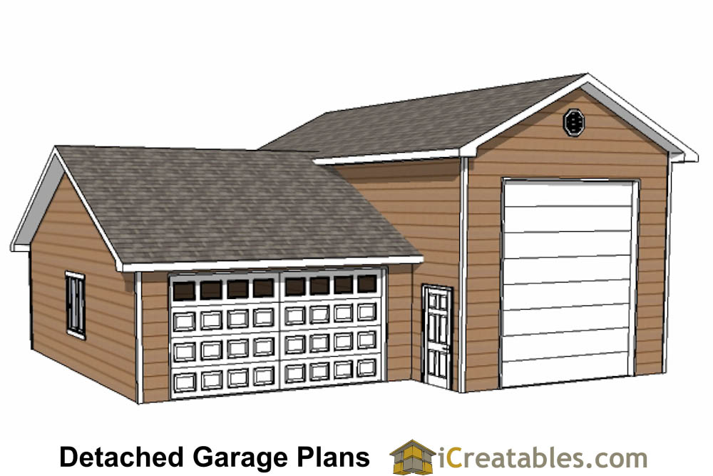 34x38 2 car garage with RV Garage