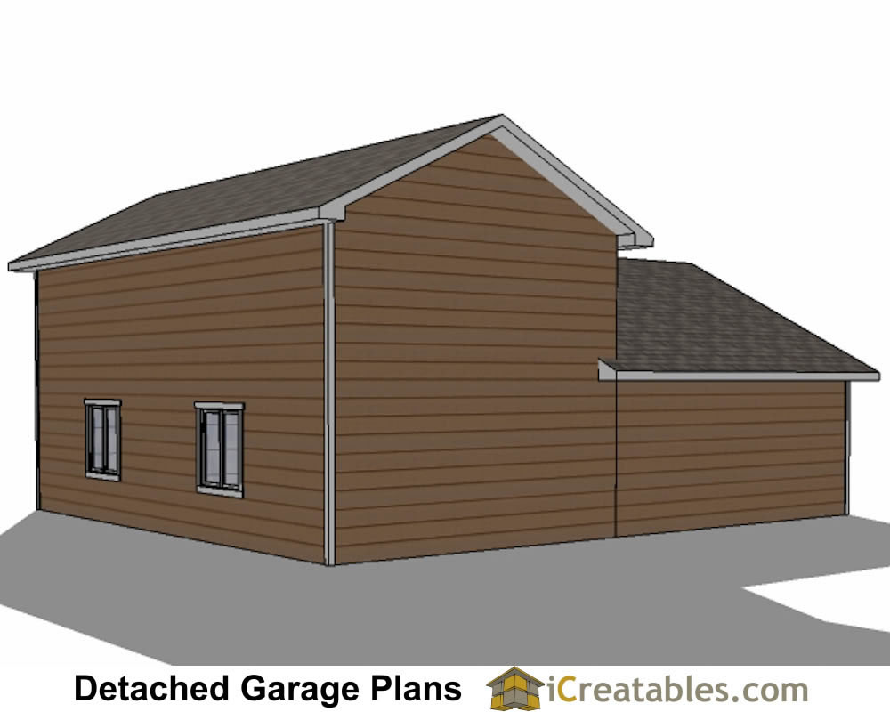 34x38 rv garage plans with 2 car garage for Rv garage door