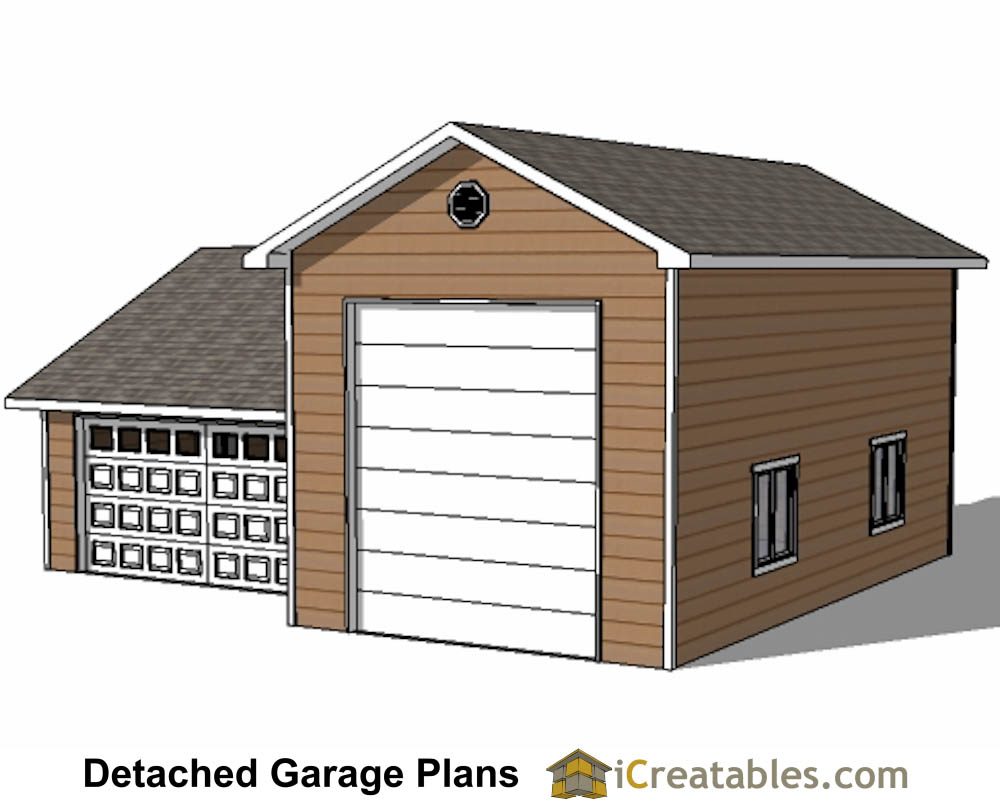 34x38 rv garage plans with 2 car garage for Rv garage