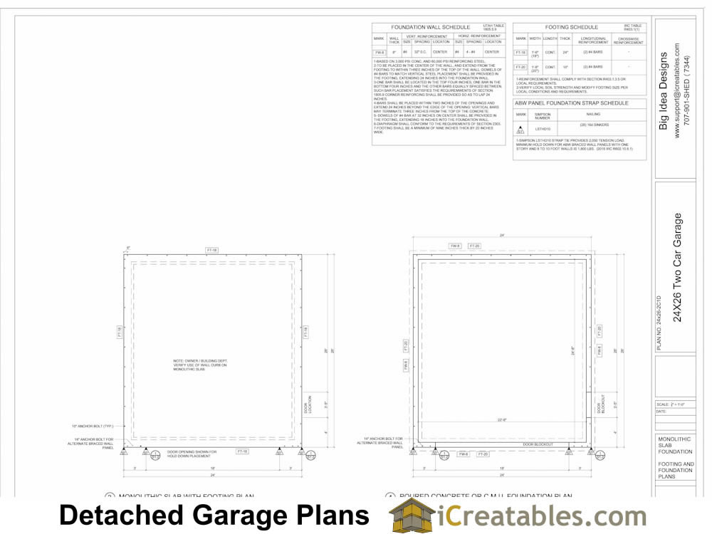 Garage plans examples view full size garage plans by for Garage foundation plans
