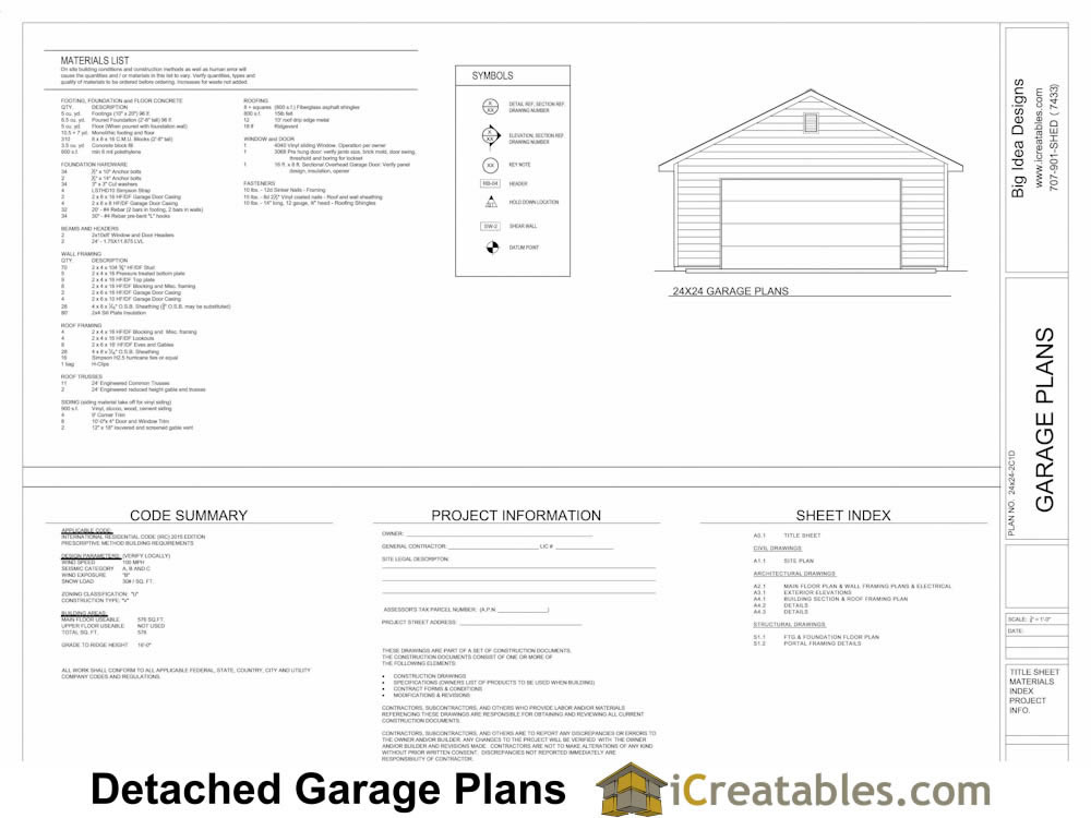Garage plans examples view full size garage plans by for Free garage plans and material list