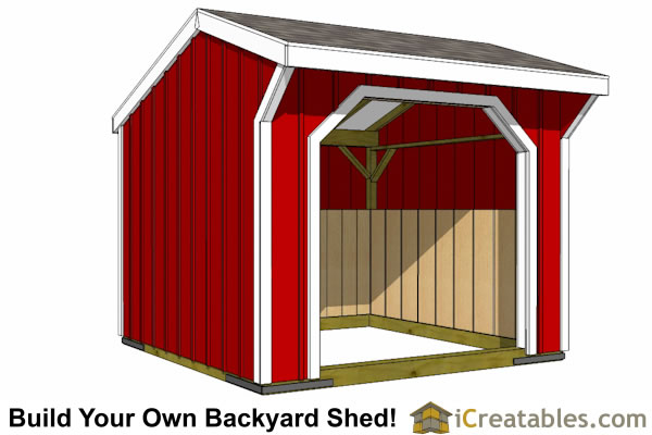 10x10 run in shed plans front
