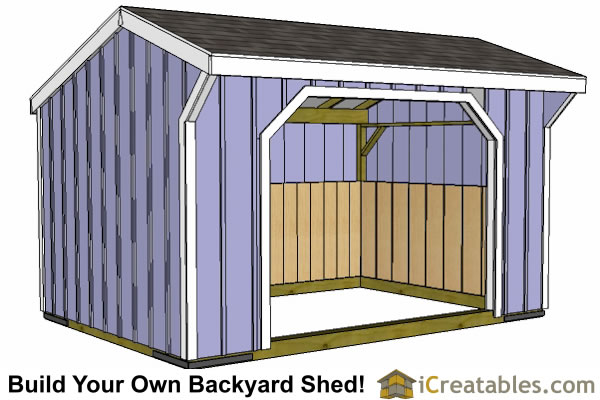10x14 run in shed plans front