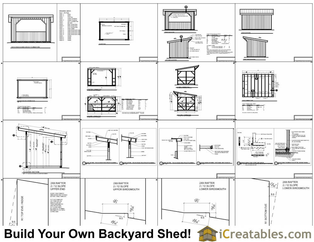 10x16 run in shed plans with wood foundation for Shed floor plans