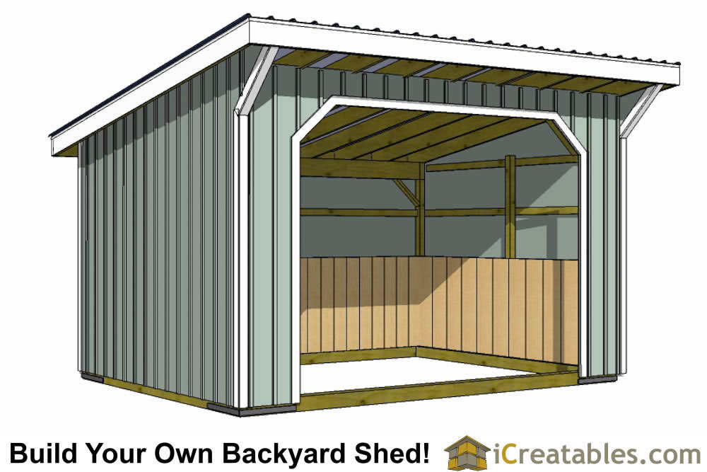 10x16 run in shed plans with wood foundation Horse run in shed plans design