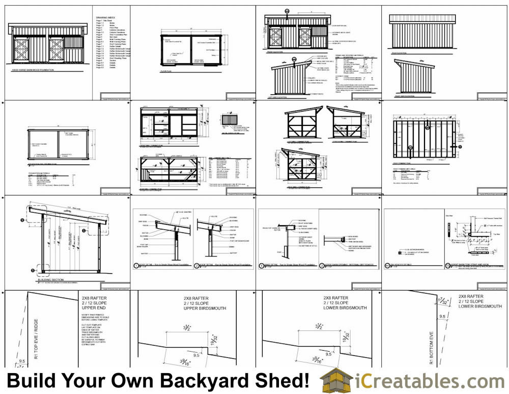 10x20 horse barn plans with wood foundation for 8 stall barn plans