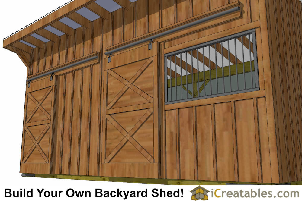10x20 horse barn plans left elevation