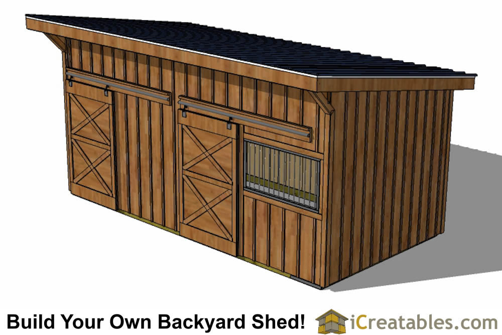 10x20 horse barn plans front view