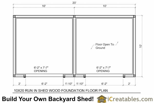 10x20 run in shed with tack room floor plan