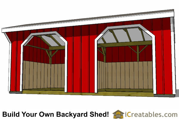 10x20 Run In Shed Plans Horse Barn Plans Inside View
