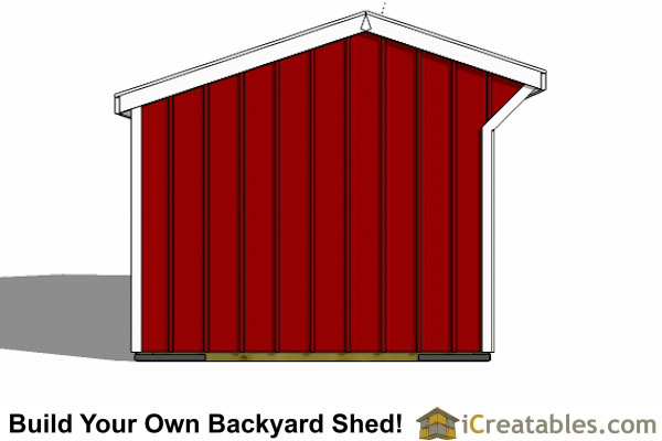 10x20 Run In Shed Plans Horse Barn End View