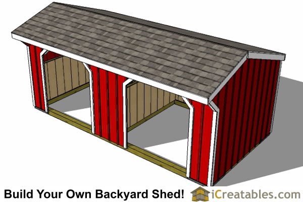 10x20 Run In Shed Plans Horse Barn Plns Top View