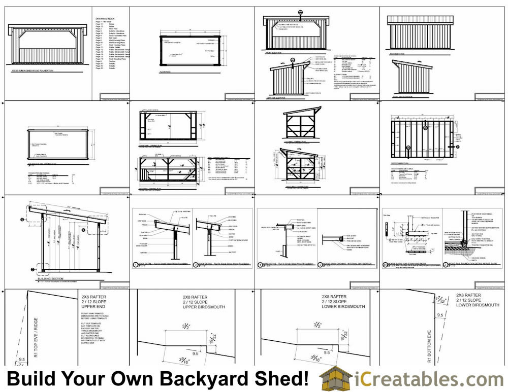 10x20 run in shed plans with wood foundation Horse run in shed plans design