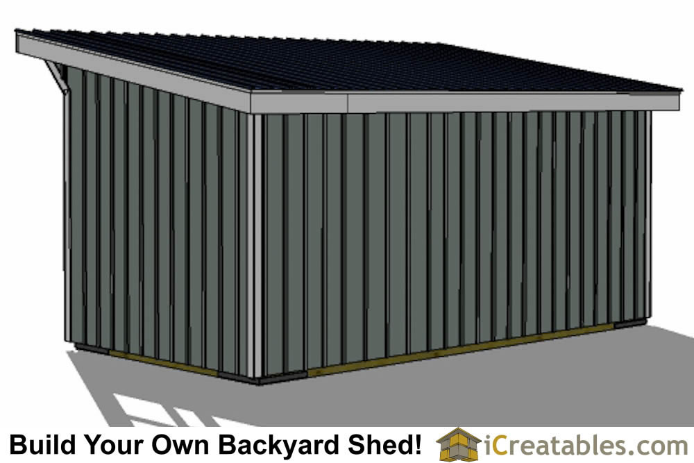 10x20 run in shed plans right rear