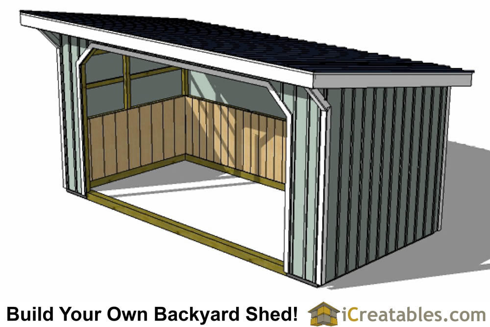 10x20 run in shed plans front view