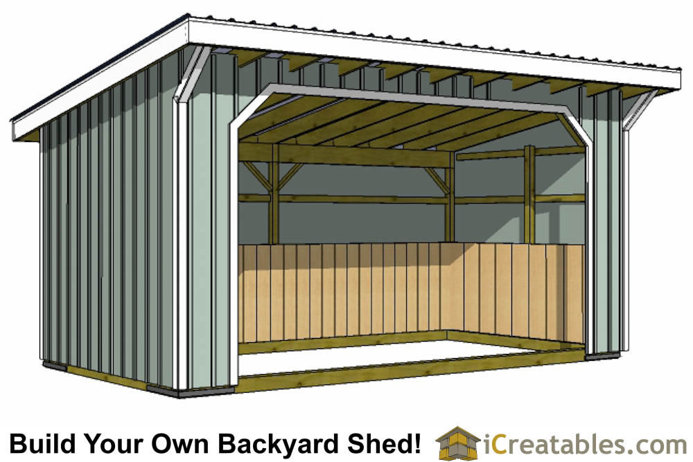 Run in shed plans building your own horse barn icreatables for Small horse barn plans
