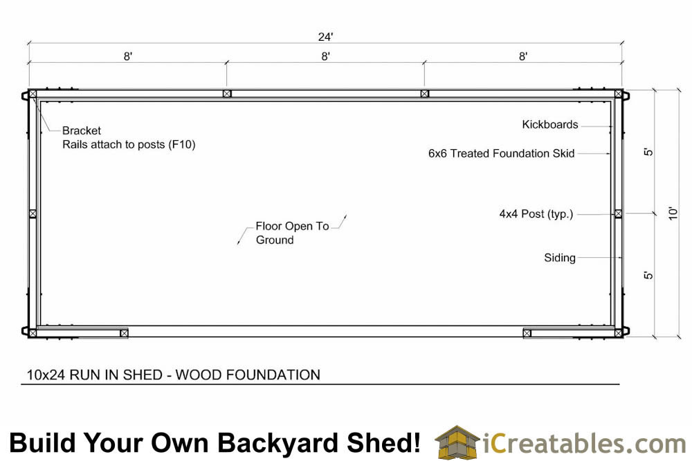 10x24 Run in shed floor plan