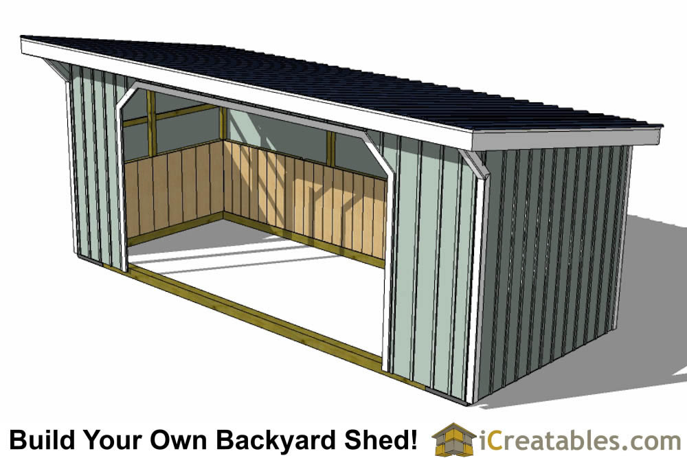 10x24 run in shed plans right rear
