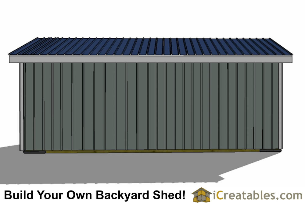 10x24 run in shed plans front view
