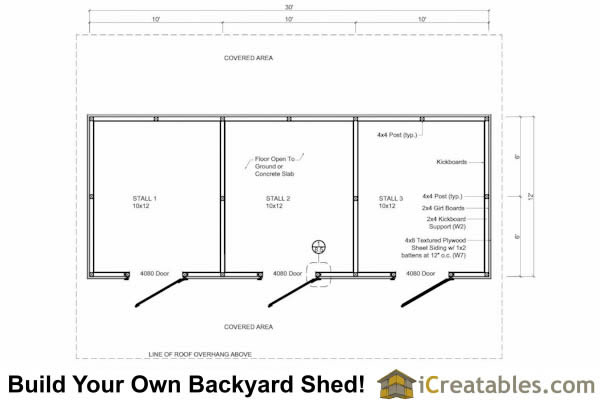 12x30 3 stall horse barn with covered storage for Horse barn layouts floor plans