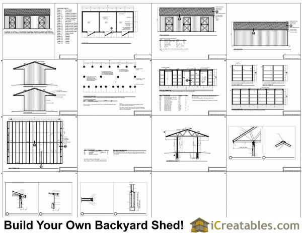 12x30 3 Stall Horse Barn With Covered Storage