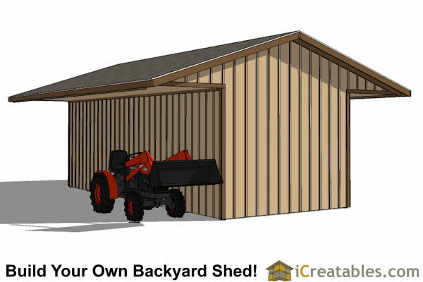 12x30 3 stall horse barn with covered storage for 2 stall barn plans