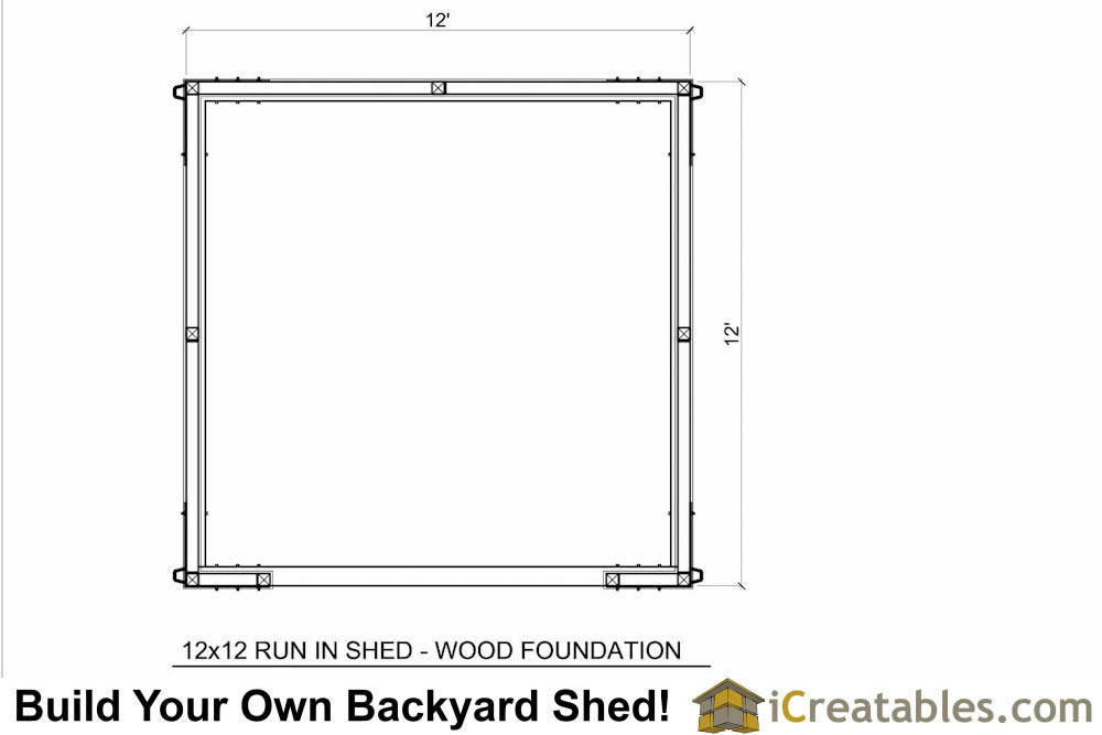 12x12 run in shed plans with wood foundation for 12x12 deck plans