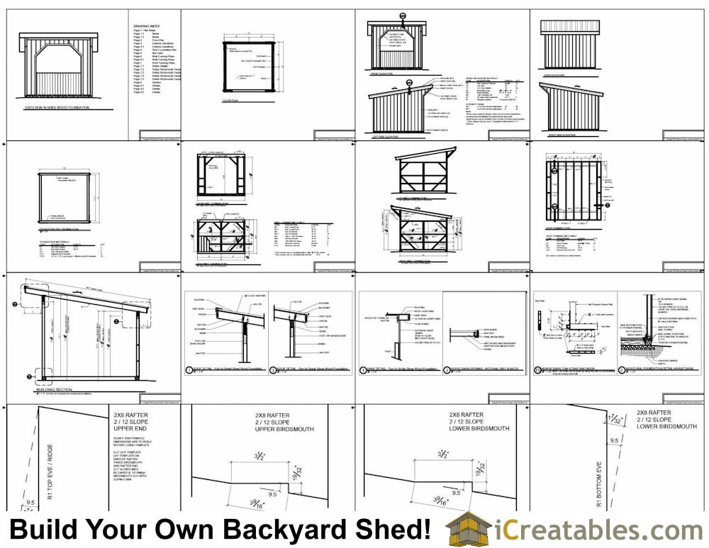 12x12 run in shed plans with wood foundation for 12x12 house plans