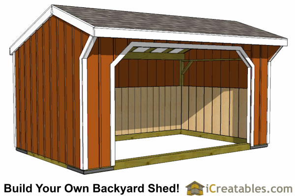 12x16 Run In Shed With Wood Foundation