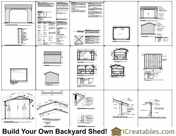 12x16 run in shed with wood foundation plans