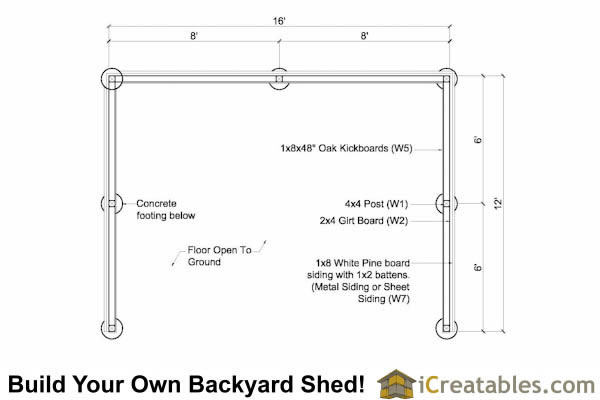 12x16 Run in shed floor plan
