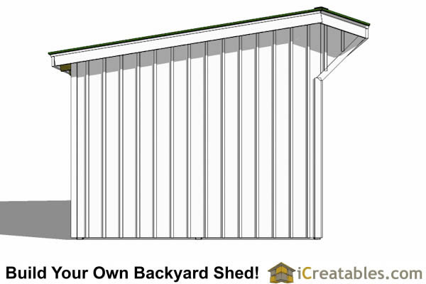 12x16 run in shed plans left elevation