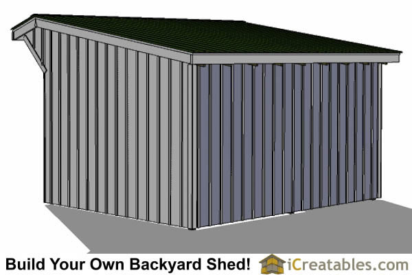 12x16 run in shed plans right rear