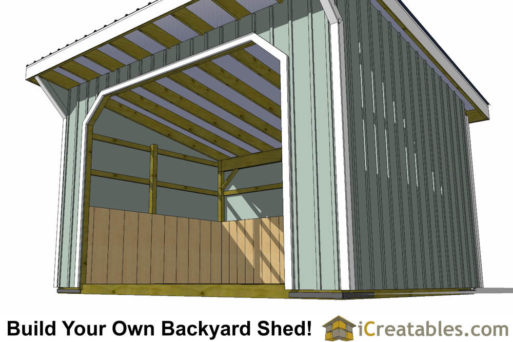 12x16 run in shed plans with wood foundation for Horse barn materials
