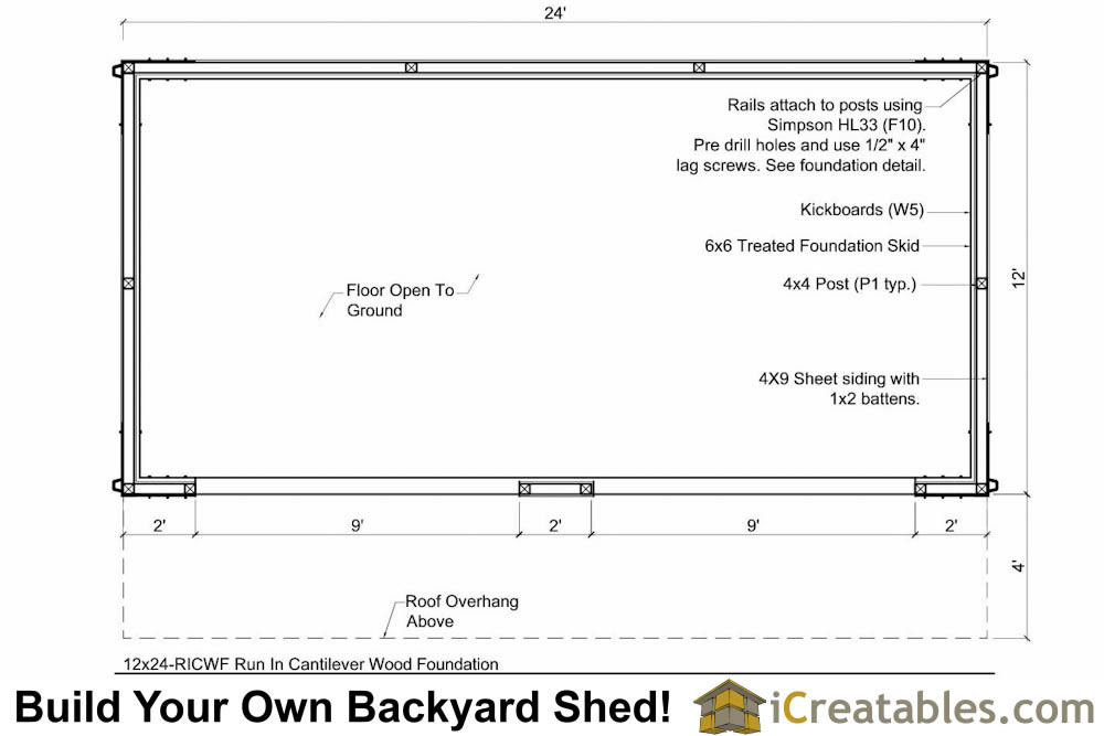 12x24 run in shed plans with cantilever for Shed floor plans