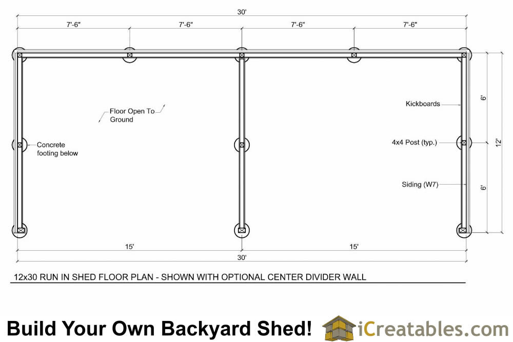 12x30 Run In Shed Floor Plans