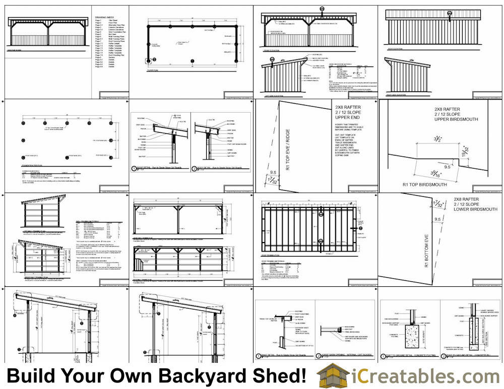 12x30 run in shed plans for Lean to plans free