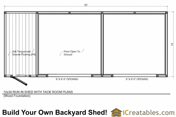 12x30 run in shed with tack room floor plan