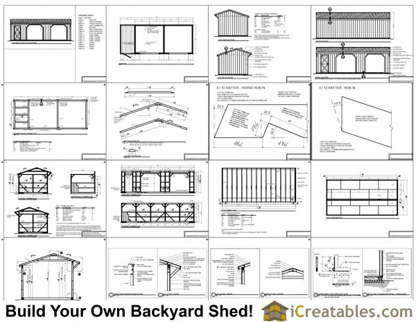 12x30 run in shed construction plans