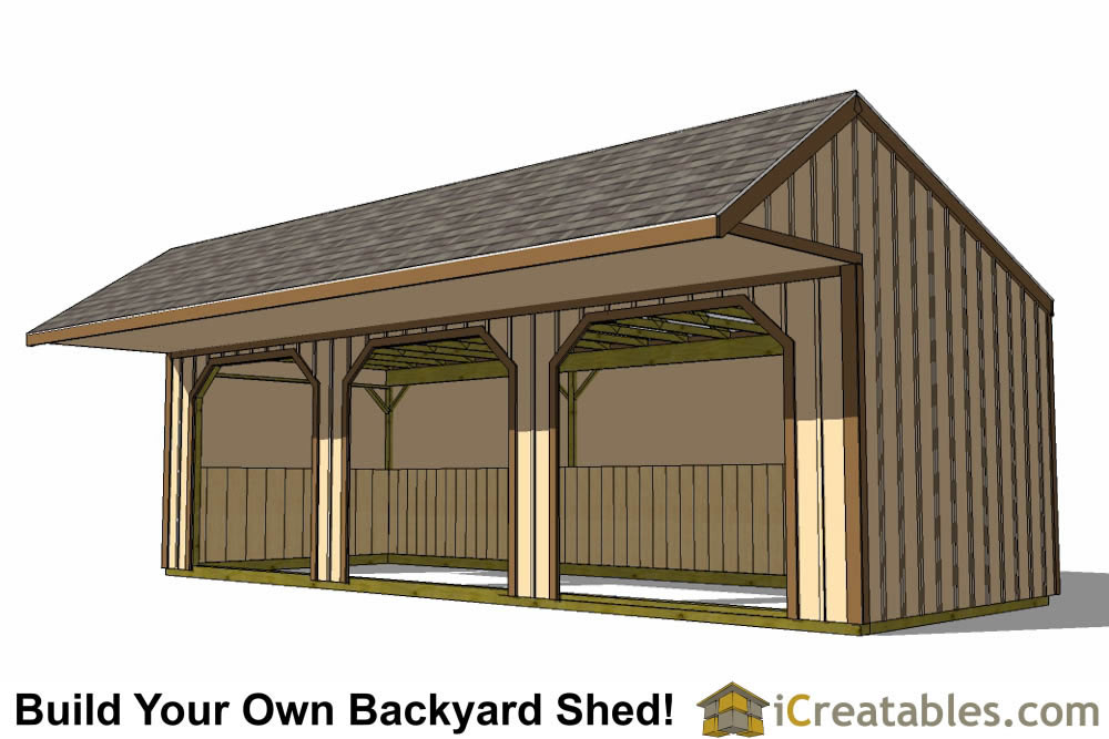 12x32 Run In Shed Plans With Cantilever Roof