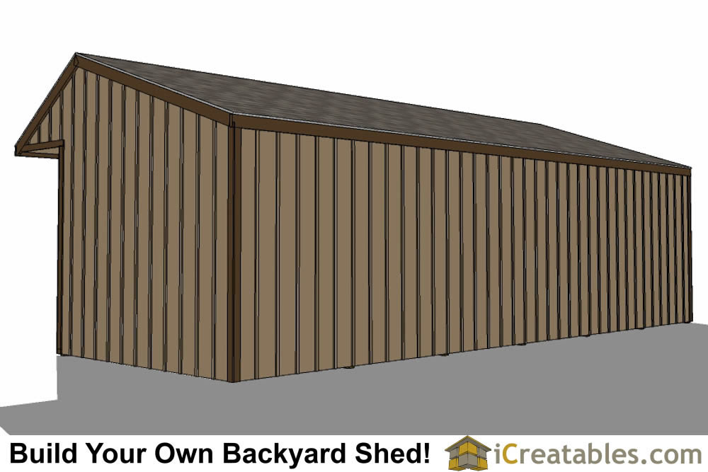 12x36 Run In Shed Plans With Cantilever Roof