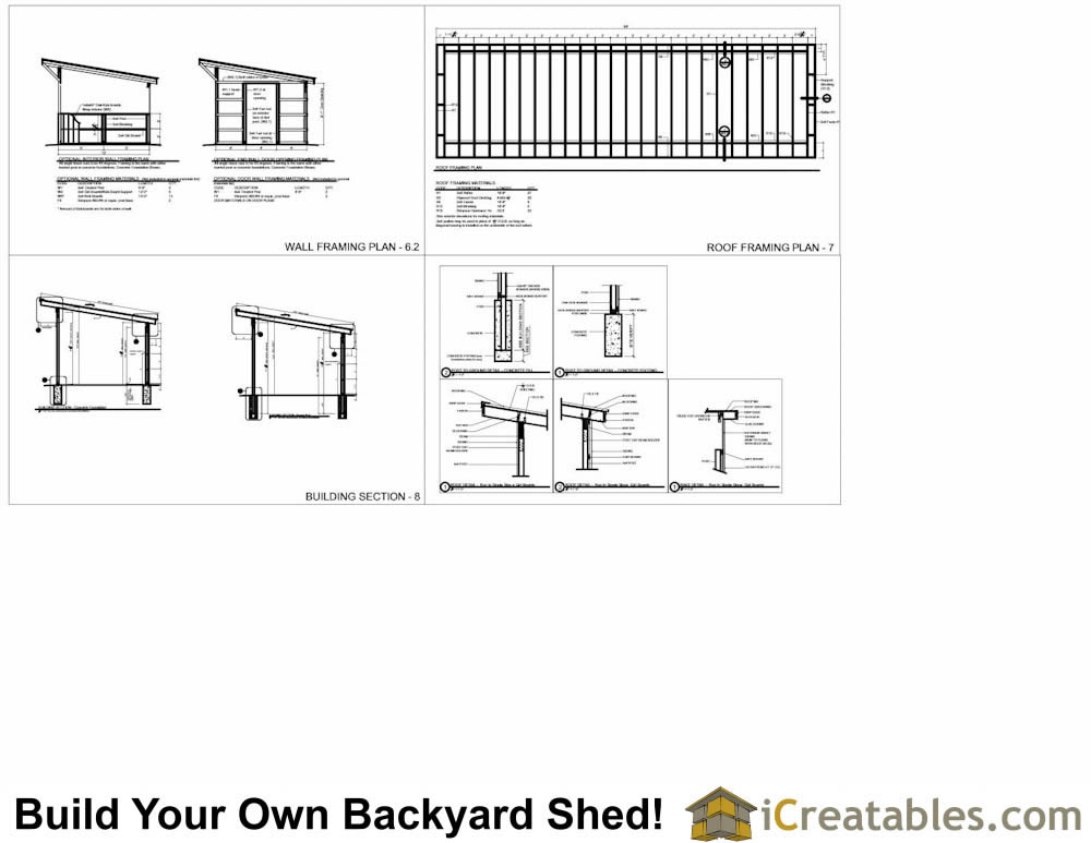 12x48 run in shed plans for Single pitch roof house plans