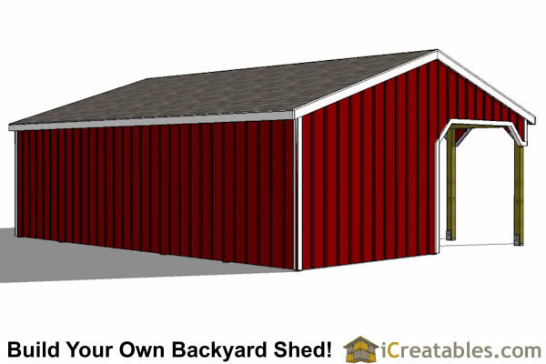 run in shed with tack room and breezeway rear