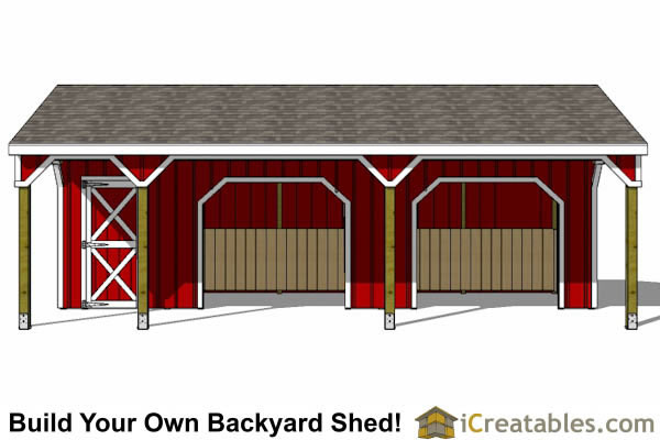 run in shed with tack room and breezeway front elevation