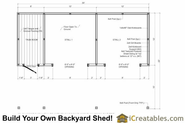 run in shed with tack room and breezeway floor plan