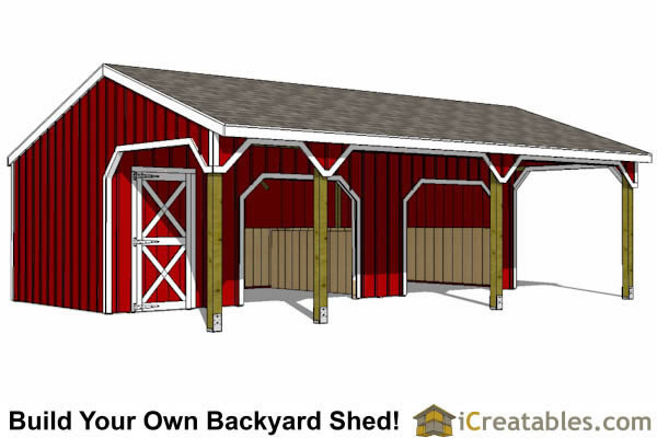 22x30 2 stall horse barn with tack room